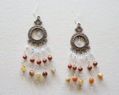 Maj - Swarovski Crystal/Freshwater Pearl/Agate Chandelier Earrings Free Shipping