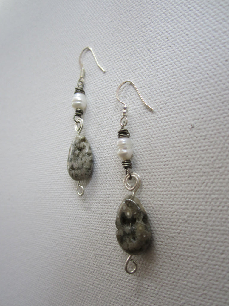 Minka - Freshwater Pearl/Agate Earrings Free Shipping