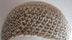 Mireille - Knitted/Crocheted Cream/Tan Mix Beanie Hat Free Shipping