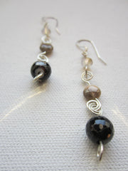 Mocha - Agate/Swarovski Crystal/Sterling Silver Earrings Free Shipping