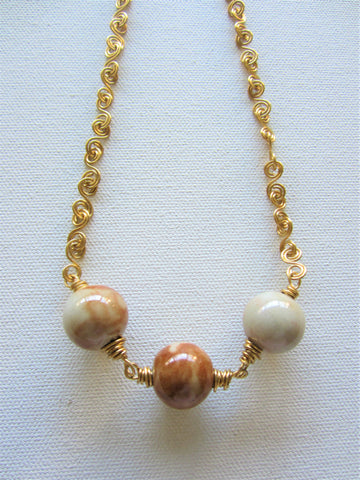Nadine - Porcelain/Wrapped Wire Necklace Free Shipping