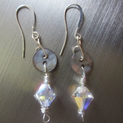 Olga - Shell/Crystal Earrings Free Shipping