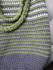 Olive - Green/Rustic Grey/Cream Crochet Handbag Purse Free Shipping