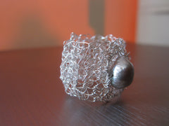 Paisley - Freshwater Pearl/Crocheted Wire Ring Free Shipping