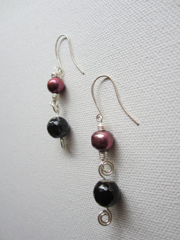 Party - Freshwater Pearl/Agate Earrings Free Shipping