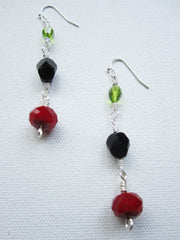 Rojo - Red/Black/Green Glass Earrings Free Shipping