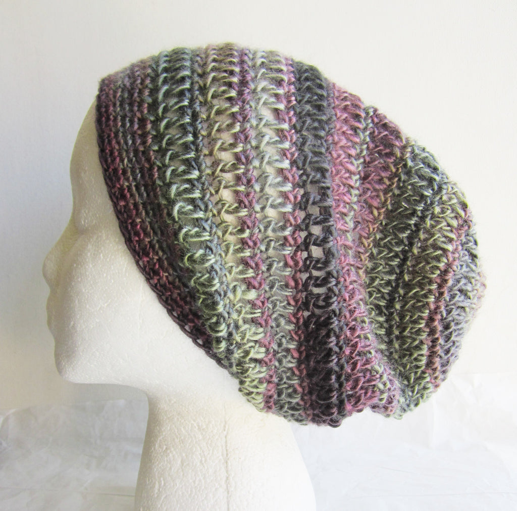 Rosemary - Crocheted Green/Plum Beanie Hat