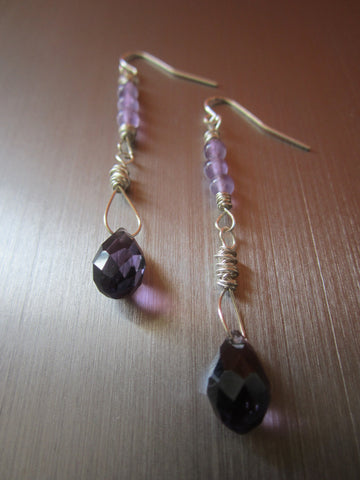 Rosine - Amethyst/Faceted Glass Earrings Free Shipping