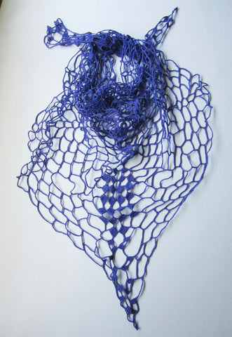 Salem - Crochet Purple Scarf Cotton Free Shipping
