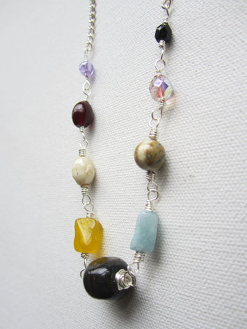 Stevie - Glass/Aquamarine/Verdite Necklace Free Shipping