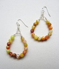 Sunny - Agate Hoop Earrings