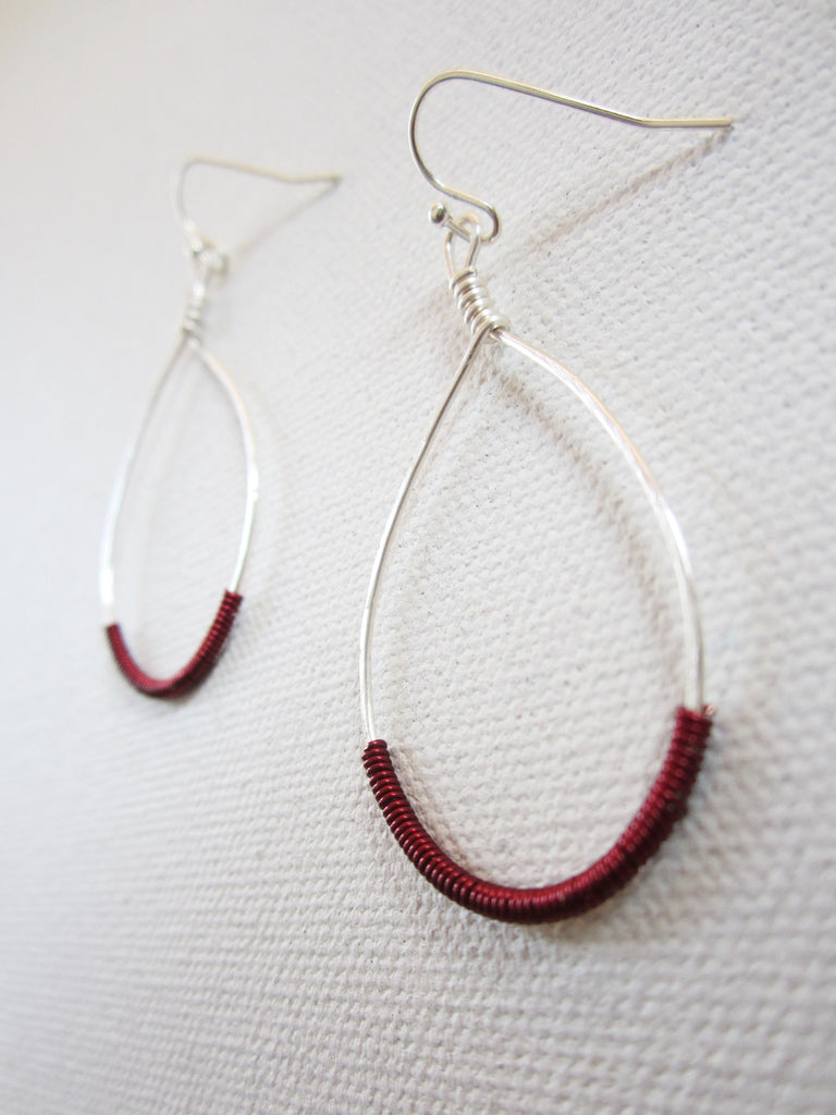 Trish - Hoop Earrings With Burgundy Red Accent Free Shipping