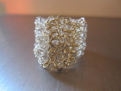 Twin - Gold/Silver Tone Crocheted Wire Ring Free Shipping