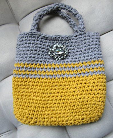 Verna - Rustic Grey/Yellow Crochet Handbag Purse Free Shipping