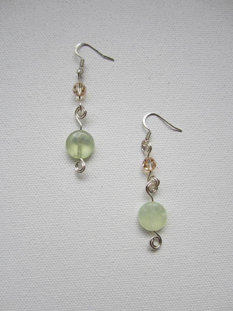 Whitney - Prehnite/Swarovski Crystal Earrings Free Shipping