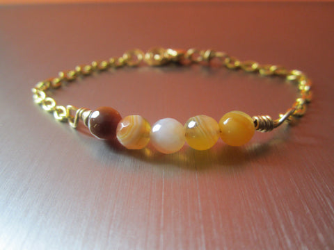 Yasmine - Agate/Chain Bracelet Free Shipping