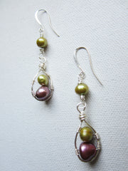 Yvetta - Wrapped Wire/Freshwater Pearl Earrings Free Shipping