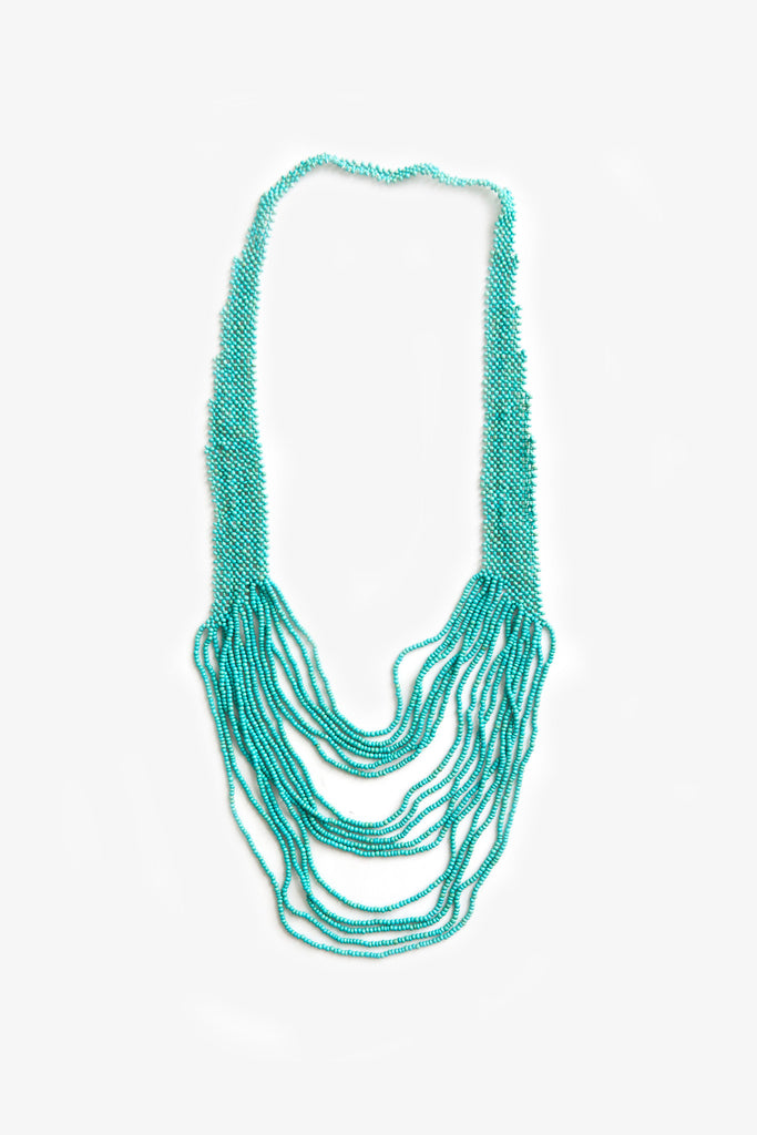 Woven Long Coco Graduated Necklace Forest