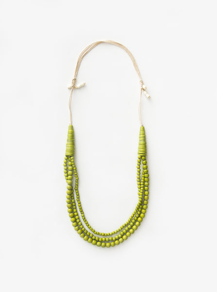 Baubles / Small Round Wood Adjustable Necklace Lime
