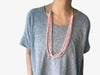Donut /3-row Stitched Disc Wood Adjustable Necklace Salmon Pink