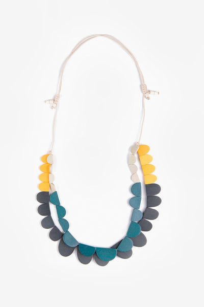 Semi / Large Adjustable Necklace Dark Forest + Mustard Mix