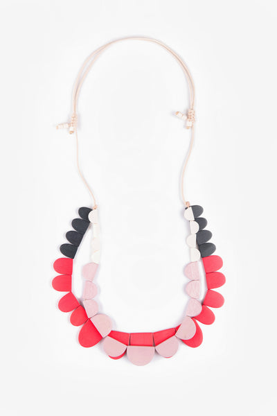 Semi / Large Adjustable Necklace Pink + Red Mix