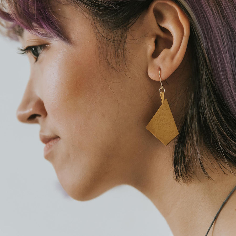 Oblong Mismatch Earrings / Mustard