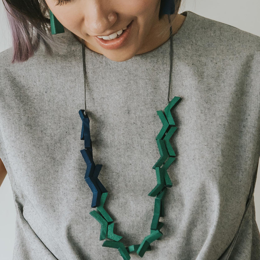 Vee Adjustable Necklace / Forest Mix