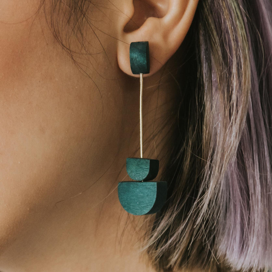 Mia Series 2 Semi Earrings / Teal