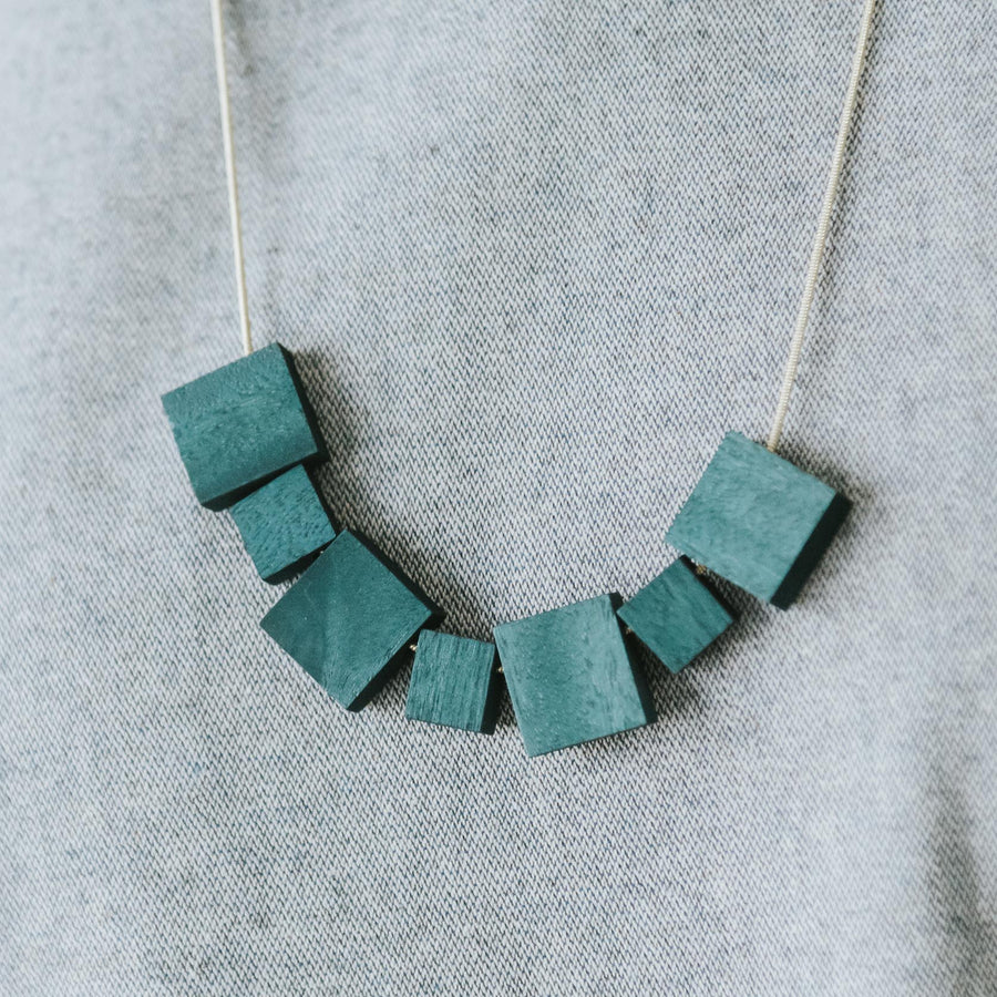 Mia Series 2 Square 2 Chain Necklace / Teal