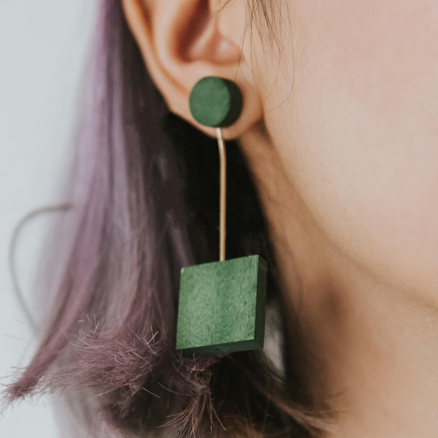 Mia Series 2 Square 1 Earrings / Forest