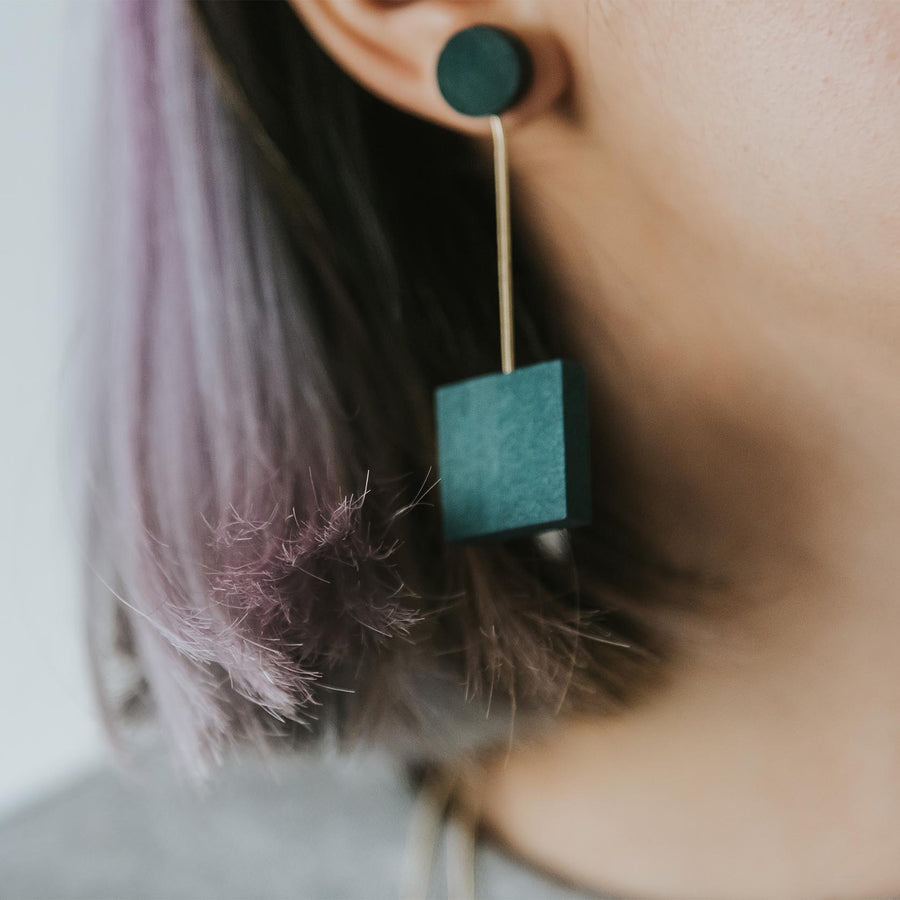 Mia Series 2 Square 1 Earrings / Teal