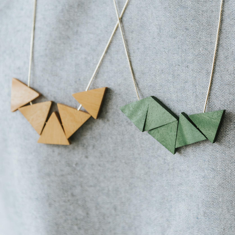 Mia Series 2 Triangle Necklace / Forest