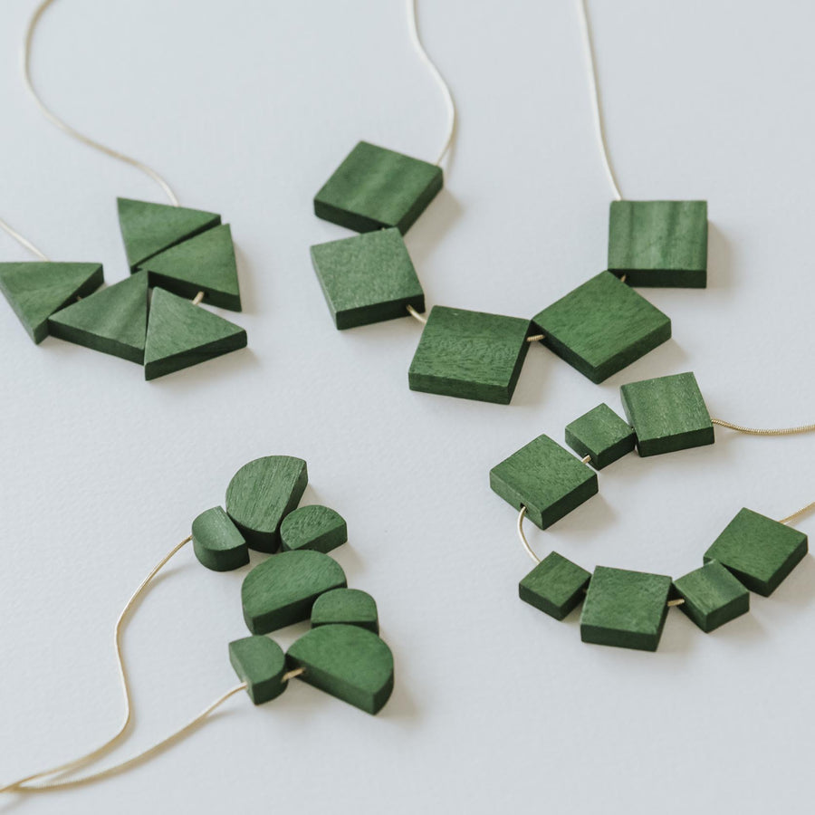 Mia Series 2 Square 2 Chain Necklace / Forest