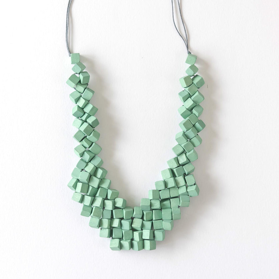 Cube Adjustable Necklace / Mint Green