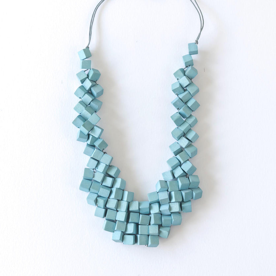 Cube Adjustable Necklace / Blue