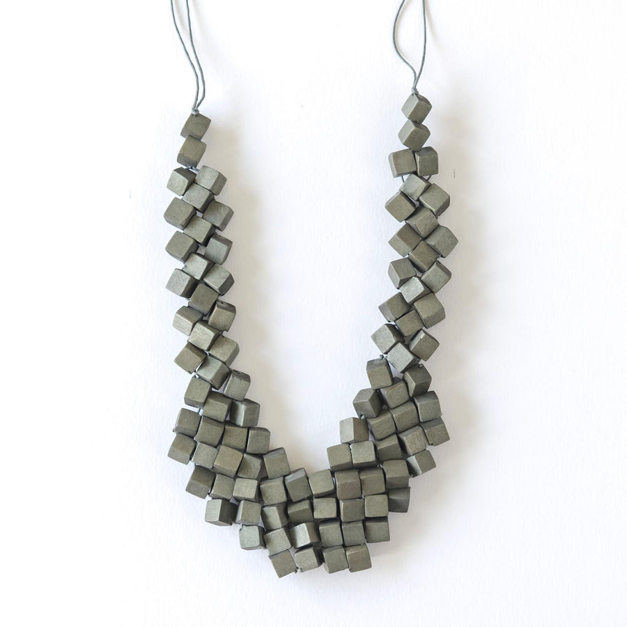 Cube Adjustable Necklace / Grey