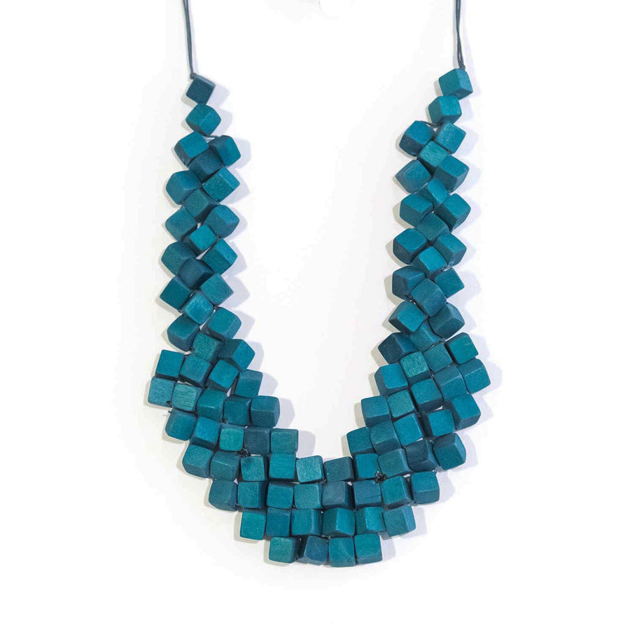 Cube Adjustable Necklace / Teal