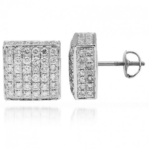 14K Solid White Gold Diamond Stud Earrings 2.50 Ctw