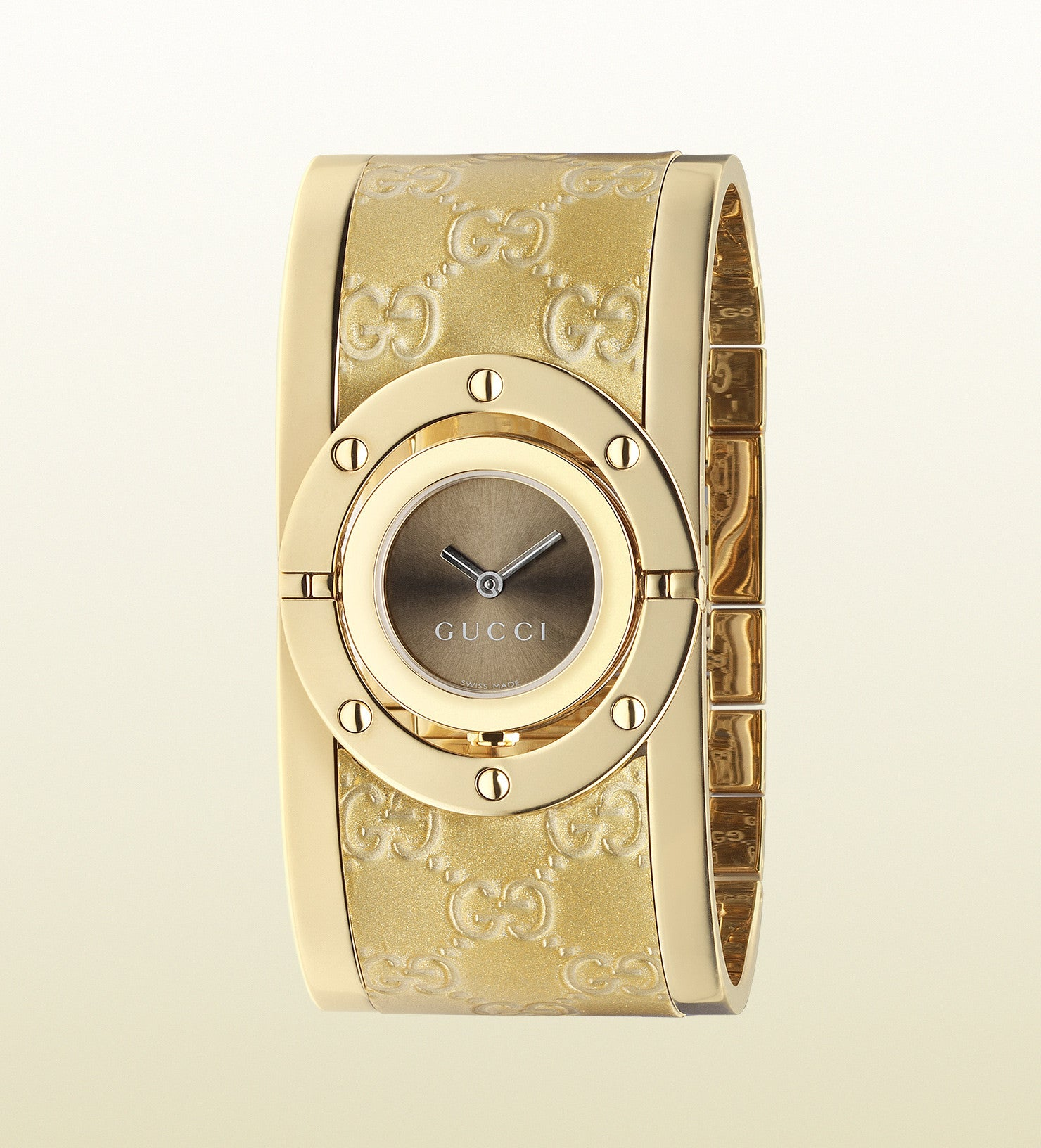 Gucci Twirl Yellow Gold PVD and Guccissima Leather YA112436 (23.5mm)