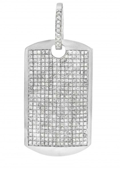 10k White Gold Pendant Dog Tag