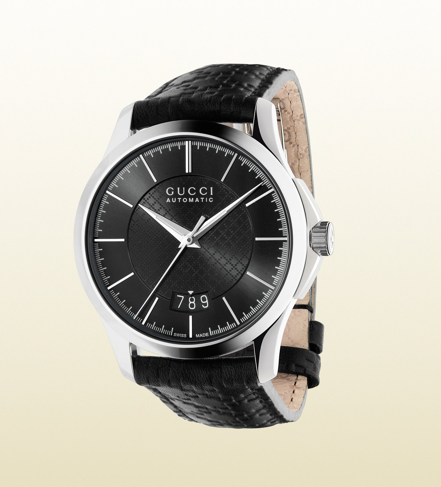 9cdcb3bd274 Gucci G-Timeless Medium Stainless Steel and Leather YA126430 (38mm ...