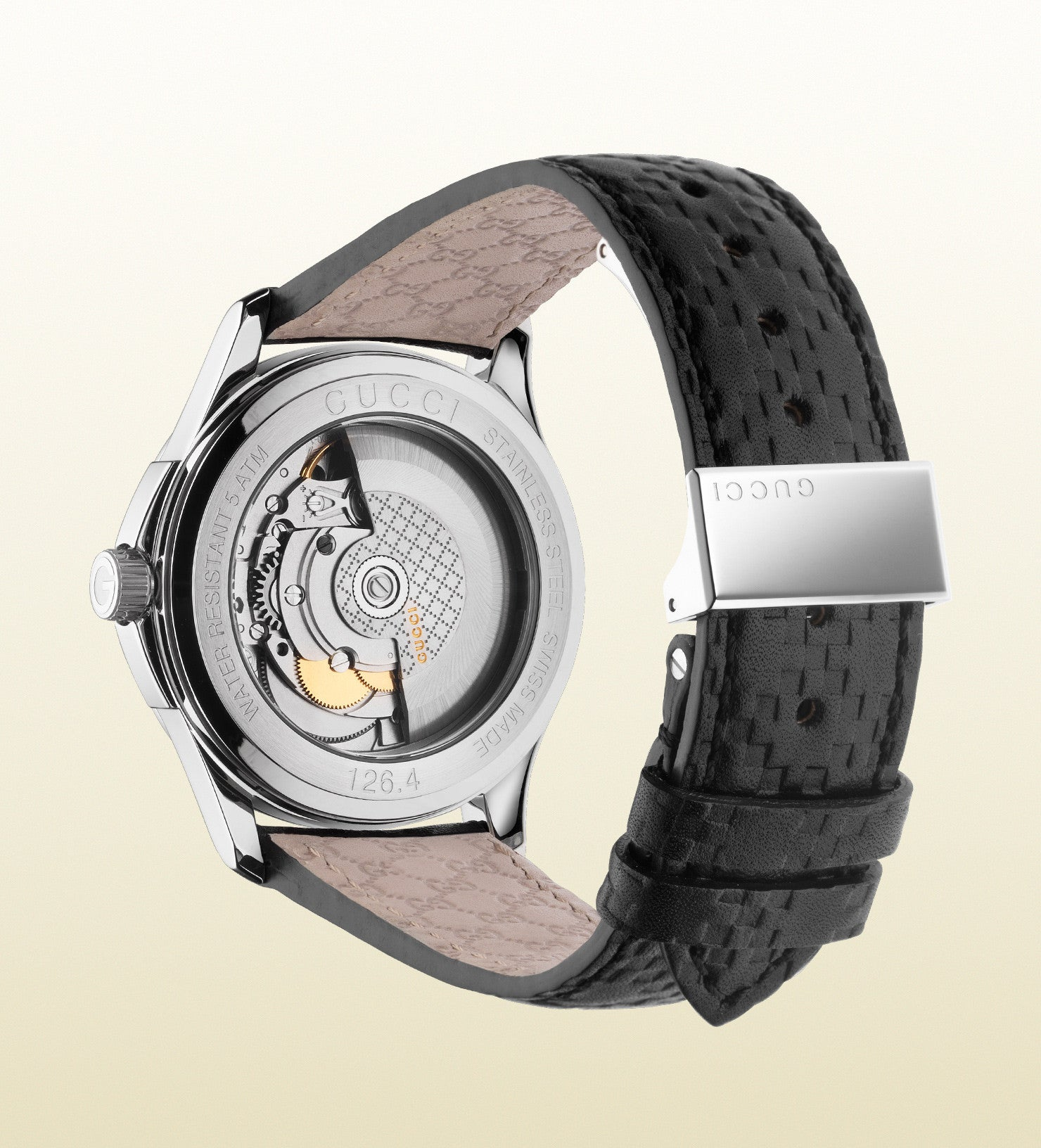 bfcd97e73f8 ... Gucci G-Timeless Medium Stainless Steel and Leather YA126430 (38mm) ...