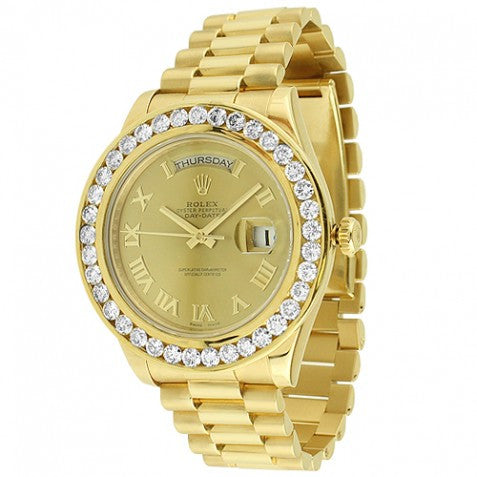 Rolex Day Date 18K Solid Gold Mens Diamond Watch 10.89 Ctw
