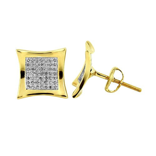 10K Solid Yellow Gold Kite Diamond Stud Earrings 0.26 Ctw