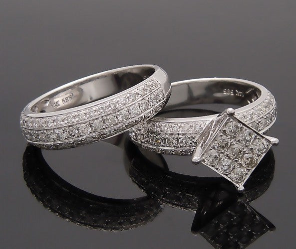14k White Gold 1ct Diamond Wedding Band Ring