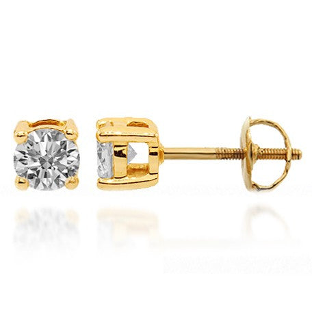 14K Solid Yellow Gold Diamond Solitaire Stud Earrings 0.50 Ctw