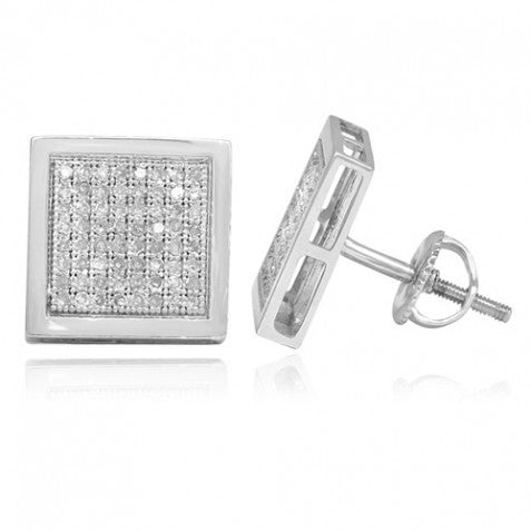 14K White Gold Diamond Stud Earrings 0.50 Ctw