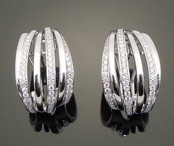 14K White Gold 1ct Diamond Earrings