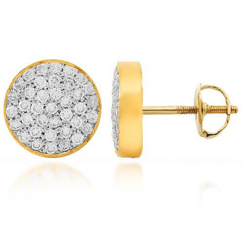 14K Yellow Solid Gold Diamond Stud Earrings 0.59 Ctw